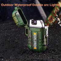 Новое прибытие на открытом воздухе Электронные Водонепроницаемая USB Плазменный зажигалка аккумуляторная Дважды Дуга электрическая зажигалка ветрозащитный прикуривателя