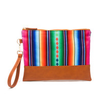 Serape Clutch With Rainbow Stripe Mosaic Case Wholesale Wome...