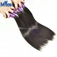 MikeHAIR Raw Индийский Extensions волос Natural Color Straight человеческих волос Weave 4 Связки перуанский малазийский бразильский Extensions волос для женщин