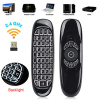 Ruso Inglés C120 Fly Air Mouse 2.4G Mini Teclado Inalámbrico Recargable Control Remoto Con Voz para PC Android TV Box