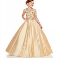 2020 Новое поступление Девочки Пагентные платья Холтер шеи линия Золотые бусы кристаллы сверху Длинные малыши детские Официальные вечеринки выпускные платья