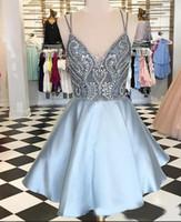 Rachel Allan 2020 light sky blue Homecoming Dresses sparkly shinning beaded Custom Made spaghetti straps Short Prom dress Formal Party dress