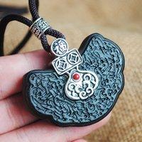 Alloy Amulet Wooden Pendant Necklace Maxi Necklace Jewelry Vintage Pattern Wood Fashion Long