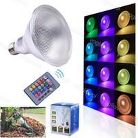 LED 전구 PAR38 10W 20W E27 COB 방수 RGB 24KEY 원격 제어 마법의 빛 야외 정원 DHL