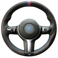 Preto Genuine Car Steering de couro tampa da roda de BMW M Sport F30 F31 F34 F10 F11 F07 F45 F46 F22 F23 M235i M2 costurado à mão