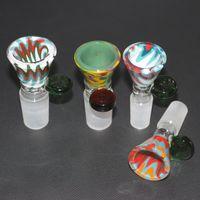 Mix Farbe Glasschale mit Handgriff für Bong dab rig männlich 14mm 19mm Joint Female Glasschüssel für Bong Wasserpfeife