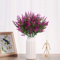 Искусственные цветы лаванды растение 6 шт, реалистичная ультрафиолетостойкие Поддельные Кусты Зелень Кусты Букет скрасить Ваш дом K