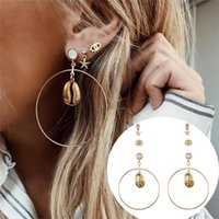 Top vente européenne Style Shell Big Circle Boucles d'oreilles Nouvelle Shell Starfish Eye Stud, strass Alliage 3 Paires / set Party Jewelry
