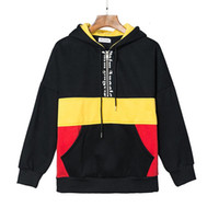 New Palm Angels Hooded Sweatshirts Black Yellow Red Contrast...