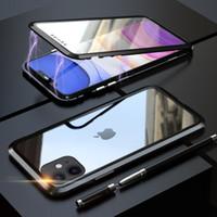2019 çift taraflı temperli cam Gizlilik Mıknatıs Durumunda 11pro iphone 11 pro max için Manyetik adsorpsiyon Metal Kılıfı Anti-gözetleme