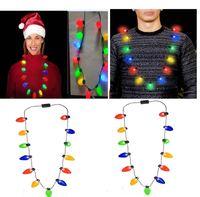 Lampadina LED Lampeggiante Collana Lampadine Torce Luminose Decorazioni natalizie Fascino Bomboniere Bomboniere Forniture regalo 100 pezzi EEA526