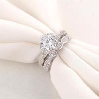 VECALON 2016 Vintage Engagement Ehering Band Ring Set für Frauen 3CT Simulierte Diamant CZ 925 Sterling Weibliche Partei Ring