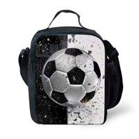 كرة القدم نمط شخصية كيد غداء حقيبة معزولة مدرسة بنين بنات الغداء مربع وجبة خفيفة