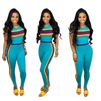 Women Blue Sleeveless Patchwork Tracksuit Sexy Bodycon Outfi...