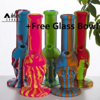 아래로 줄기 실리콘 봉 줄기 유리 그릇 연기 물 담뱃대 dab 식품 학년 실리콘 다채로운 물 파이프 허브 파이프 손