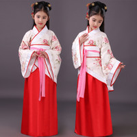 Китайский Hanfu девушки платья китайские дети костюм дети древняя Фея Хань Тан династии Цин Ханфу платье народная одежда DN2570