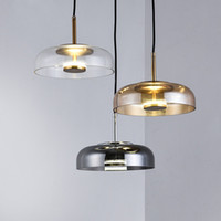 Modern glass Pendant lights fixture Gray amber clear lampsha...