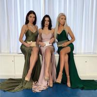 2020 sexy con cuello en v sirena rubor rosa vestidos de baile elegantes vestidos de fiesta largos satinados vestidos de fiesta altos vestidos de fiesta formales BM1569