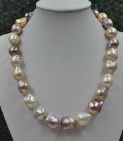 Pärlor Smycken Högkvalitativ vacker! Naturlig sällsynt mångfärgad 12-16mm Furrow Kasumi Pearl Halsband