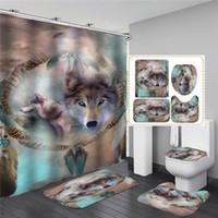 Cortinas de ducha 3D Diseño de lobo 3D Baño suave Decoración de inodoro Cortina Colillas de piso Set de alfombra Pedestal + tapa cubierta de baño