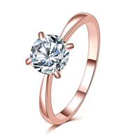 고품질 1.2ct 로즈 골드 컬러 대형 CZ 지르콘 돌 다이아몬드 링 탑 디자인 4 여성을위한 4 곡절 신부 결혼 반지