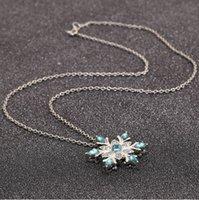 Collana di Snowflake Zircone Vintage Lady Pendants Blue Crystal Collana di fiori di cristallo