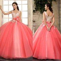 Quinceanera Kleider Pfirsich Ballkleid Tüll Applique V-Ausschnitt Lace Up Sweep Train Girls 16. Abendkleid Gowns Custom Sash Elegant