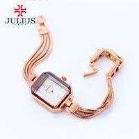 JULIUS Retângulo Últimas Ladies Relógios 7mm Ultrafino Famous Brand Designer Assista Pulseira de cobre Rose Gold Silver 2017 JA-716