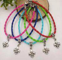 50pcs/lot Antique Silver Fleur De lis Dangle Bead Pendant Mixed Color Leather Braided Rope Bracelets&Bangles Womens Jewelry - 152