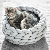 Knitted Pet Bed Dog Cat Bed Puppy Pillow House Soft Warm Dog...