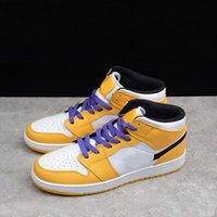 Nike Air Jordan AJ AJ1 Mid SE Lakers OG hohe Basketball-Schuhe Mid SE Lakers Luxus UNIVERSITY GOLD / BLACK-HELLelfenbein COURT PURPLE-SAIL BQ6931-700 36-45 mit dem Kasten