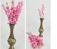 Имитация персика Home Decor 60CM / 24inch Искусственные ветви персика Черри Блоссом Шелковые цветы Главная Свадебные украшения Цветок