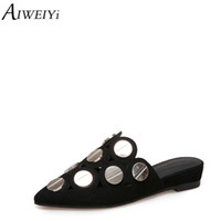 AIWEIYi Style Été Tongs Découpes Bout Pointu Slip On Slide Pantoufles Souliers Casual Femme