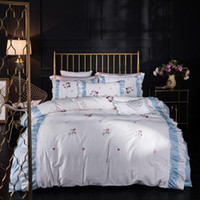 Top Embroidery V Letter White Goddess Bedding Cover Cotton L...