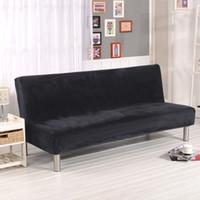 Plüsch Fold Armless Schlafsofa Klappsitz Schonbezug Dickere Bezüge Sitzbank Couch Protector Elastische Futon Cover Winter