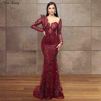 Violet à manches longues pleine Perler robes de soirée 2020 Illusion Sexy O Neck Moyen-Orient Dubaï Sirène Robes de soirée formelle en cravate