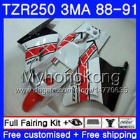 바디 용 YAMAHA TZR250RR RS RR YPVS TZR250 88 89 90 91 244HM.2 TZR-250 TZR250 3MA TZR 250 1988 1989 1990 1991 광택 화이트 핫 페어링 키트