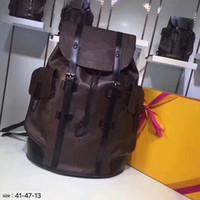 Mochila grande L patrón de flor clásicos de alta calidad CHRISTOPHER genuinos mochilas de cuero bolsas de viaje hombre de gran capacidad