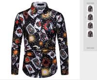 Весна и Осень 2019 Внешняя Торговля Новая Мода 3D Покер Цифровой Печатный Досуг С Длинным Рукавом Мужская Рубашка