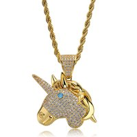 Unicorn Necklace Hip Hop Pendant Men Hiphop Jewelry 18K Gold...