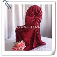 Cubierta de la silla universal 100pcs Borgoña raso, satén Volver auto cubierta de la silla del lazo para la boda decoración ENVÍO GRATIS