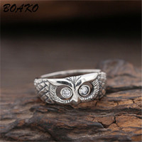 BOAKO Cute Owl Ring 925 Sterling Silver Ring for Women Cryst...