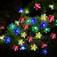 Flor Solar Fada Corda Luzes À Prova D 'Água 21ft 50 LED Multi-cor Jardins Gramado Árvores De Natal Decoração Luzes Do Dia Das Bruxas