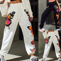 Fashion Butterfly Sweatpants Loose Sweat Pants Black White J...