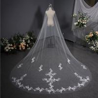 Perals con cordones con cuentas apliques de novia velo de la catedral de longitud larga blanca de marfil de marfil Velos de novia Accesorios nupciales 4m