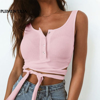 Puimentiua Sexy Bandage Knitted Crop Top Women Summer Fashio...