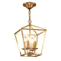 الماس نمط النحاس من النحاس الأصفر الذهبي سلسلة شنقا قفص ضوء مصباح قلادة الطيور عش الطعام غرفة المعيشة قلادة ذهبية ضوء مصباح