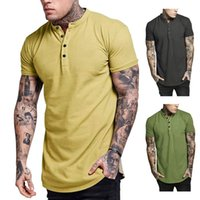 Mode-Herren Designer T Shirts Joker Baumwolle O-Ausschnitt mit Knopf Solide Dünn Slim Fit Bequem zu Sommer Kurzarm zu tragen