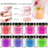 12 Kavanozlar / Seti Floresan Tırnak Daldırma Toz 3 Daldırma 1 'de / Oyma / uzatma Daldırma glitter pigment toz Tırnak süslemeleri için