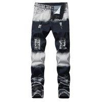 2019 Neues gerade Marken-Männer zerrissenen Jeans-Hosen Mode Brand Design Denim-Hosen Retro- reizvolles Loch Persönlichkeit Zerrissene Jeans